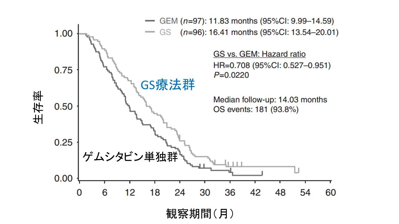 GS療法vsジェム単独生存率