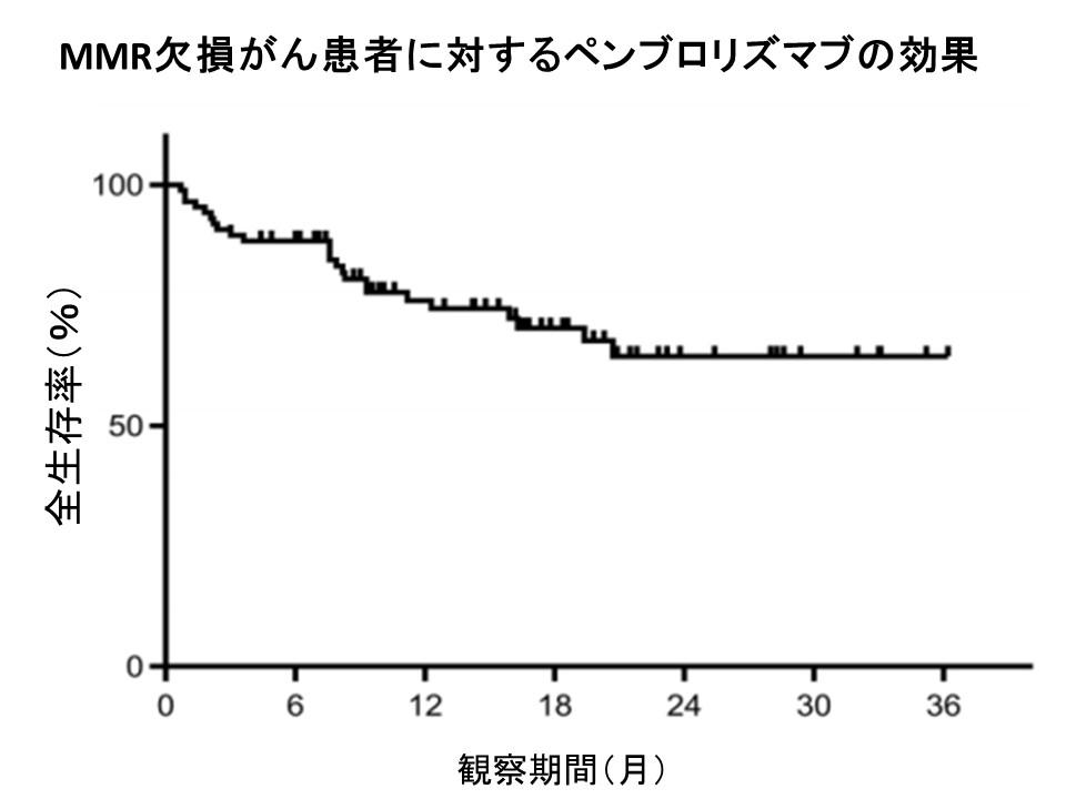 MMR欠損がんペンブロリズマブ全生存率
