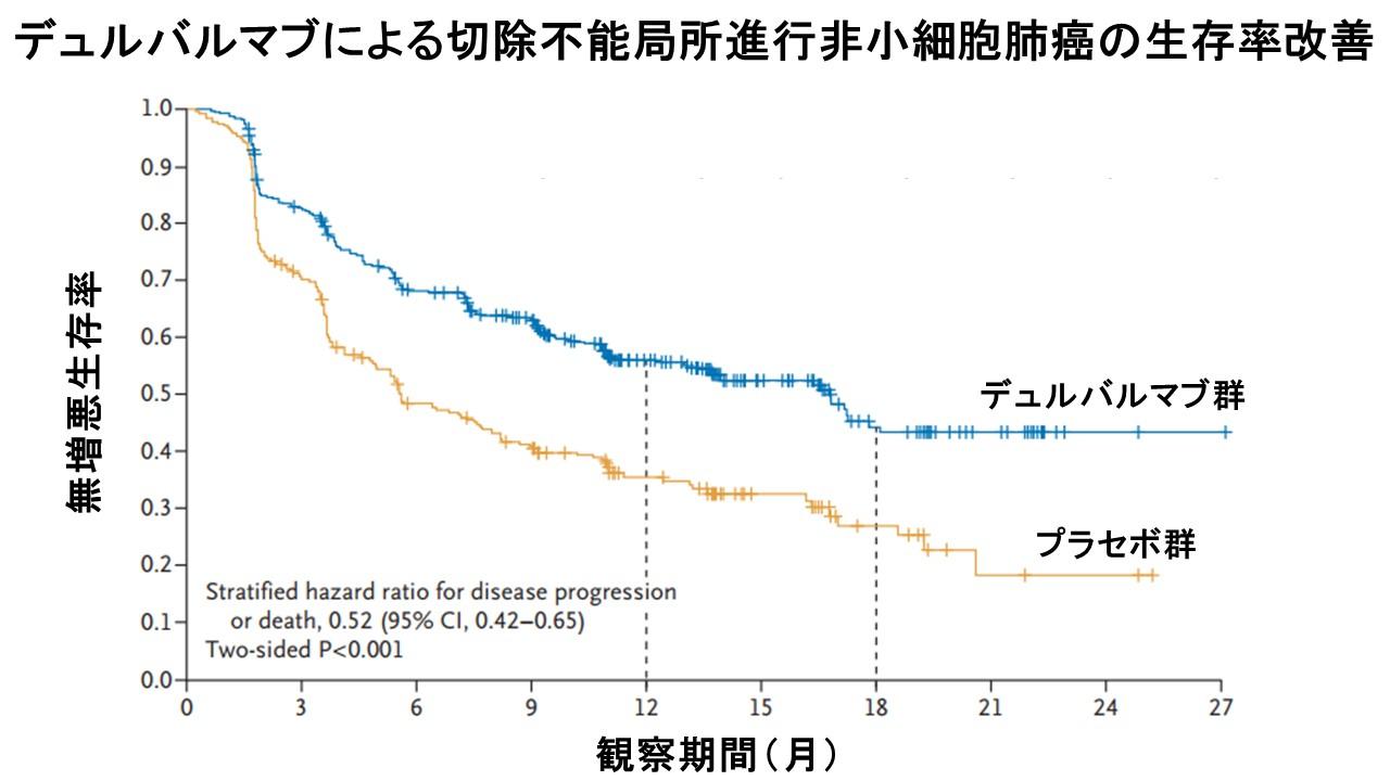 デュルバルマブ生存曲線NEJM